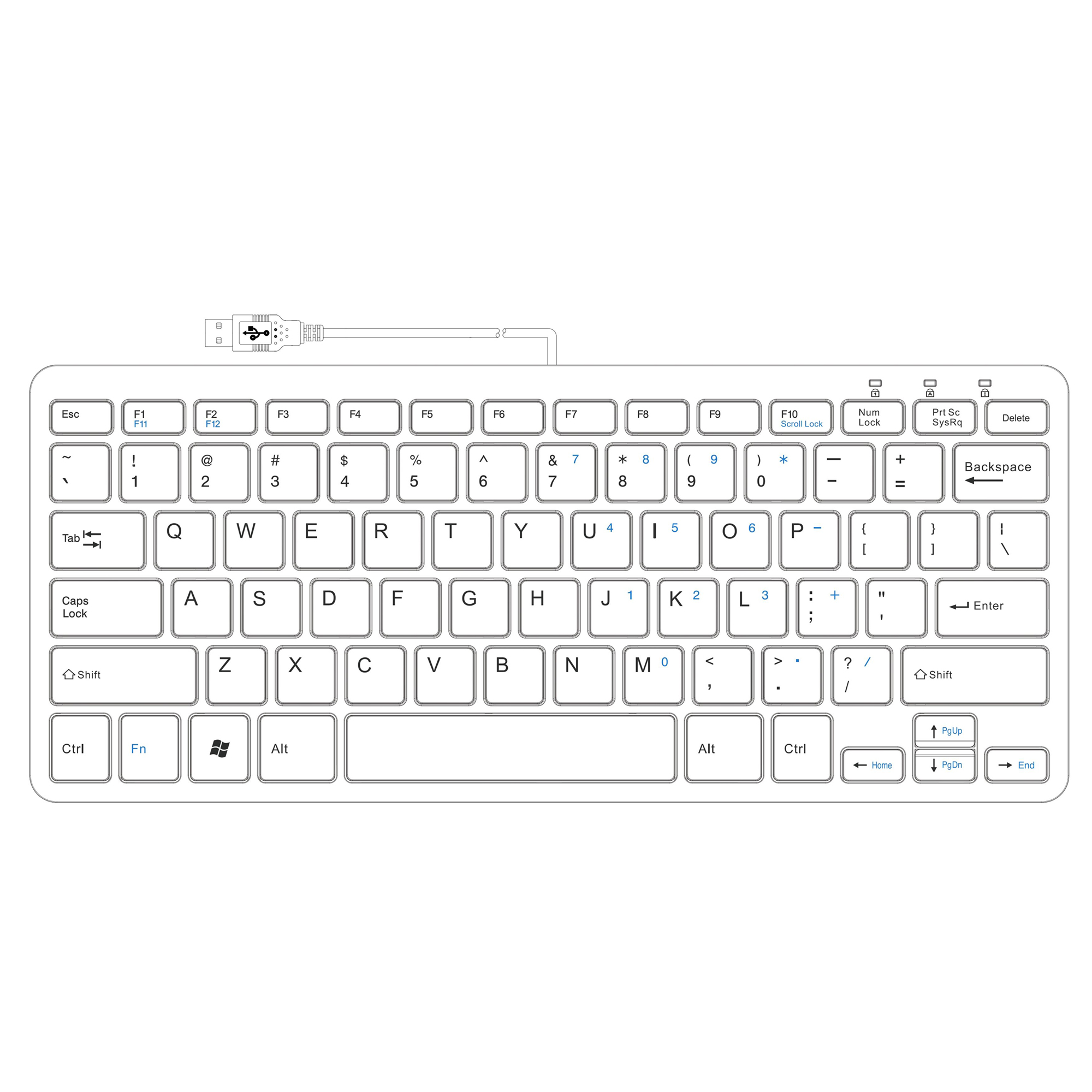 R-Go Compact Keyboard, QWERTY (US), white, wired - 3