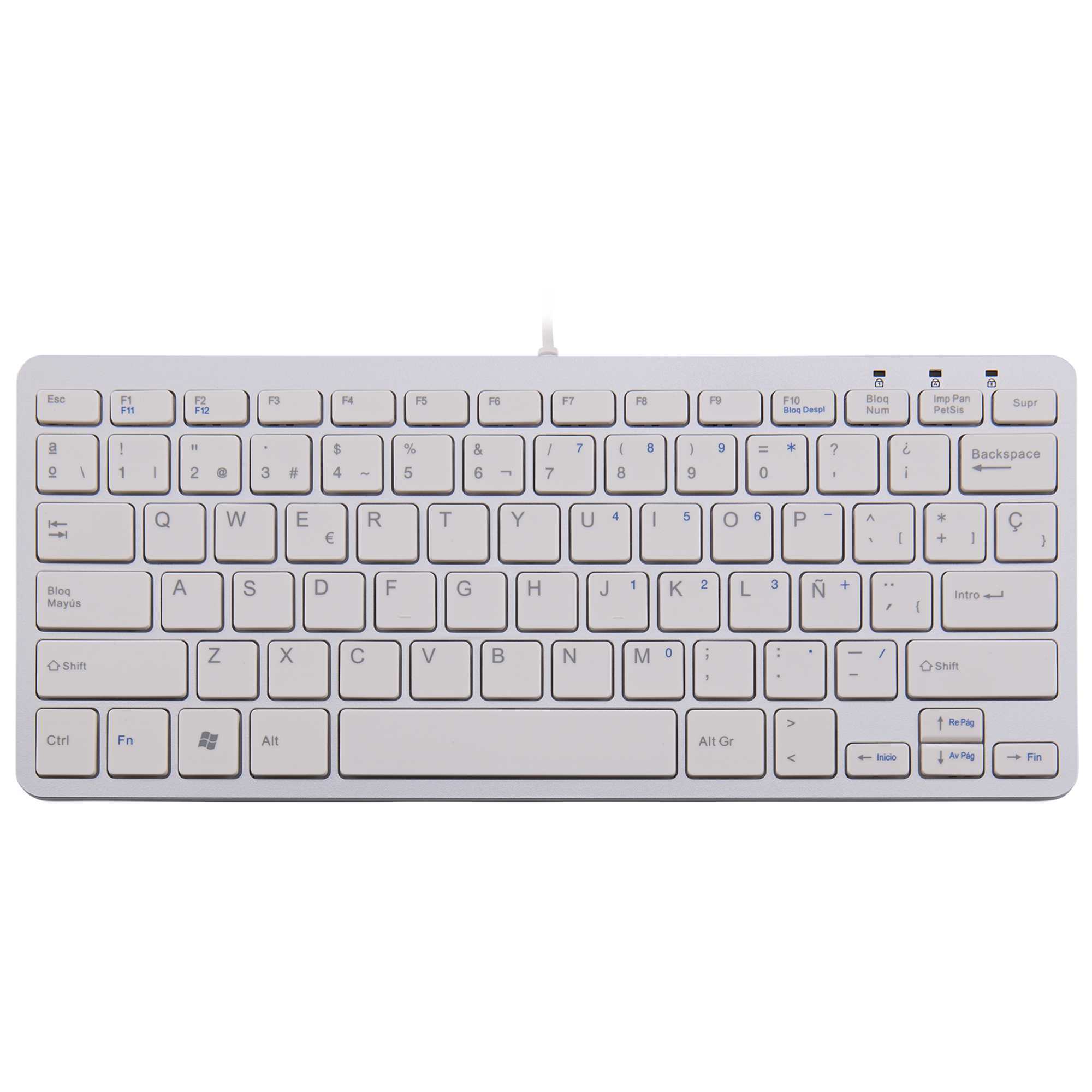R-Go Compact Keyboard, QWERTY (ES), white, wired