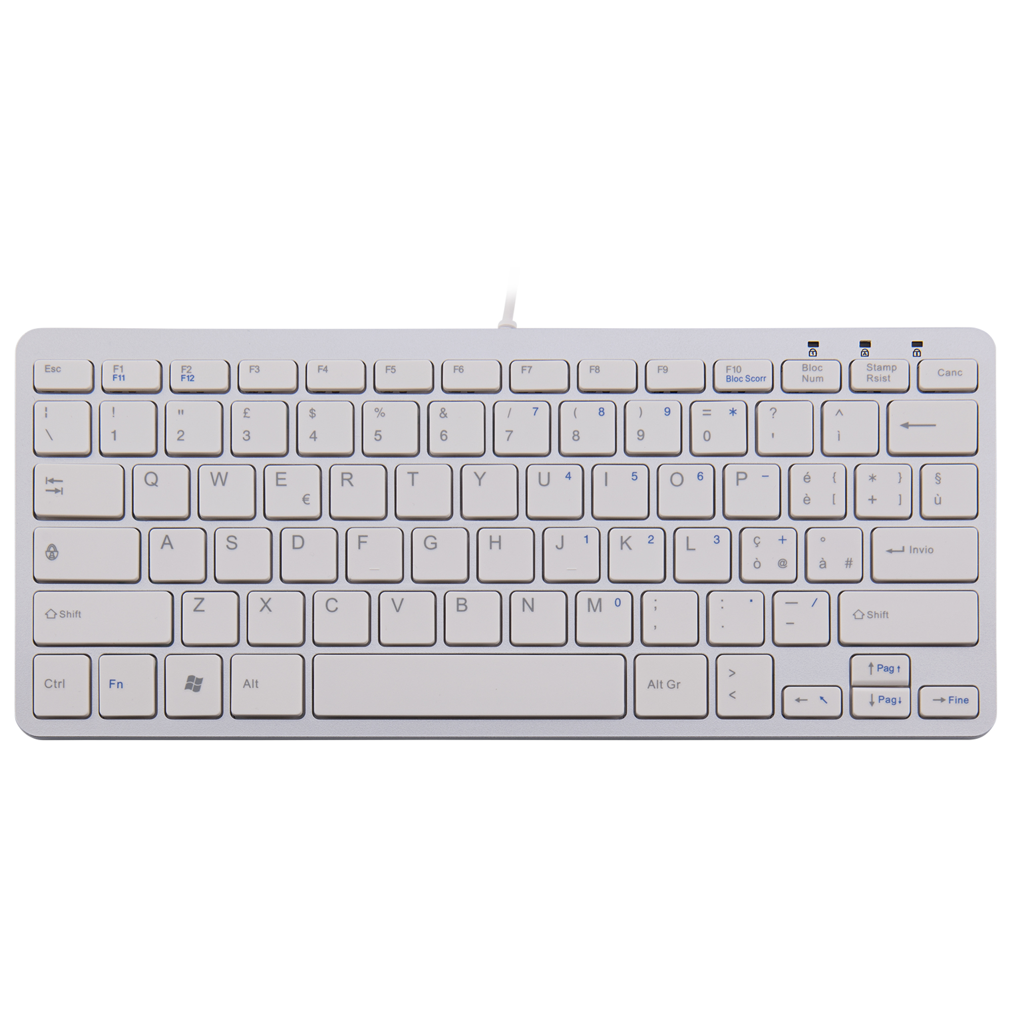R-Go Compact Keyboard, QWERTY (IT), white, wired