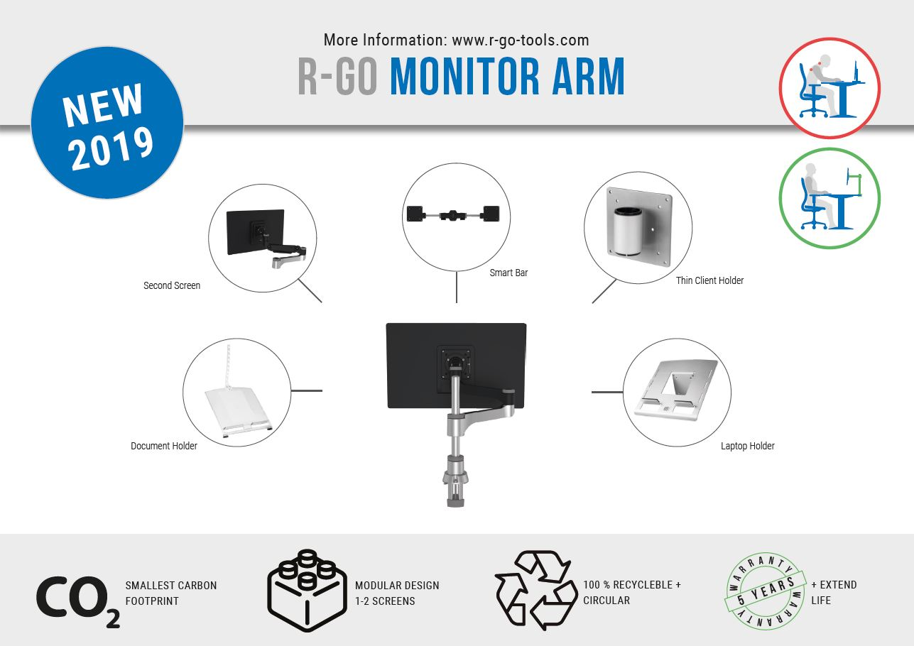 R-Go Zepher 4 C2, Circular Dual Monitor Arm, Desk Mount, Adjustable, 0-8 kg, Black-Silver, Low Carbon Footprint - 5